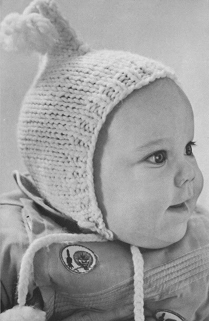 The Vintage Pattern Files: Free 1960's Knitting Pattern - Dopey Baby Hat