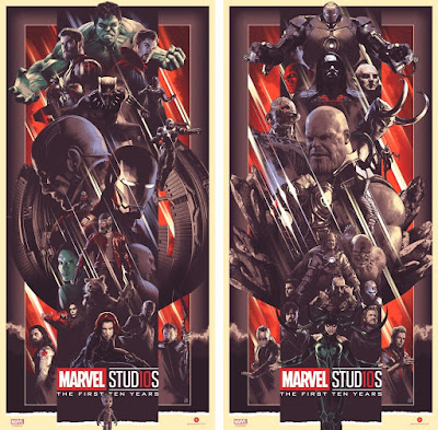 "Marvel Studios The First Ten Years ""Heroes"" & ""Villains"" Regular Edition Screen Prints by John Guydo x Bottleneck Gallery"
