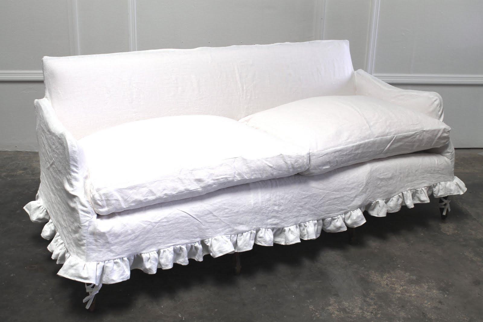 Full Bloom Cottage White Linen Slip Cover Sofa Antique