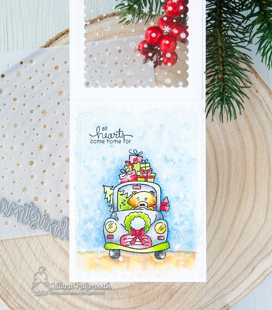 Newton's Nook Designs & Therm O Web Inspiration Week  | Christmas Card by Tatiana Trafimovich using Wintson's Home for Christmas Stamp Set and Petitie Snow Stencil by Newton's Nook Designs and Therm O Web foils #newtonsnook #thermoweb