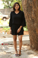 Actress Hebah Patel Stills in Black Mini Dress at Angel Movie Teaser Launch  0026.JPG