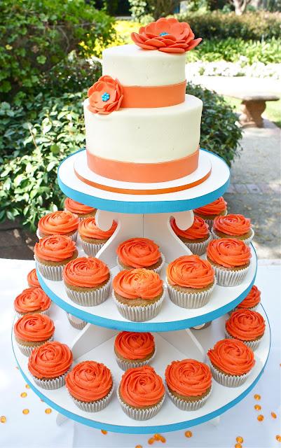 Gorgeous Orange and Teal Wedding Cake