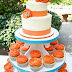 Gorgeous Orange and Teal Wedding Cake