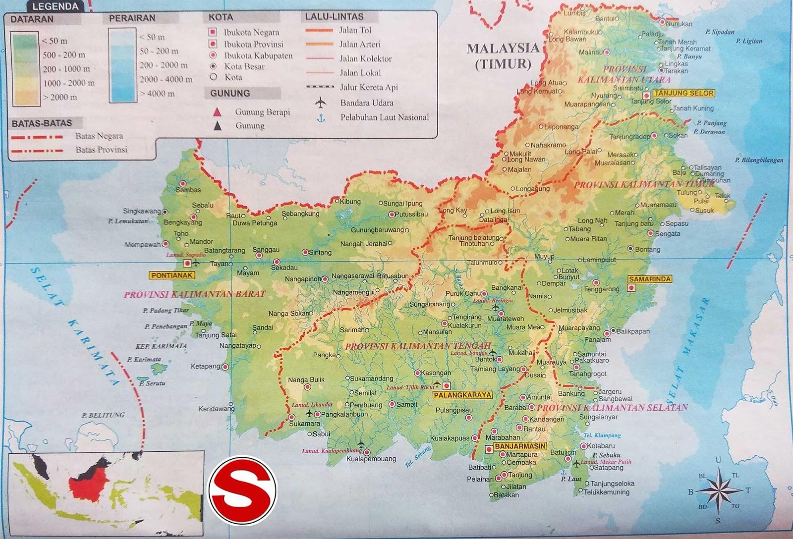 Peta Pulau Kalimantan di bawah ini mencakup peta dataran Peta Pulau Kalimantan