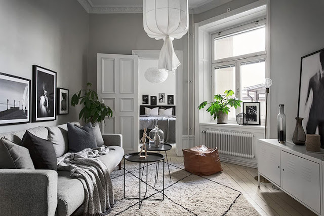 Accente de gri în amenajarea unui apartament de numai 46 m²