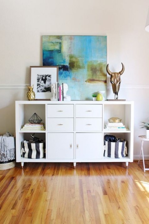 Ikea hack for Kallax shelving in chic room - found on Hello Lovely Studio