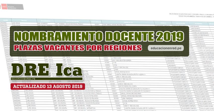 DRE Ica: Plazas Vacantes para Nombramiento Docente 2019 (.PDF ACTUALIZADO MARTES 13 AGOSTO) www.dreica.gob.pe