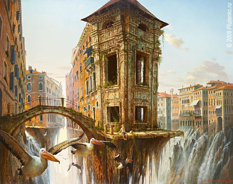 03-The-city-of-birds-Stanislav-Plutenko-Surrealism-and-Futurism-in-Oil-Paintings-www-designstack-co