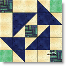 Auntie's Puzzle quilt block image © W. Russell, patchworksquare.com