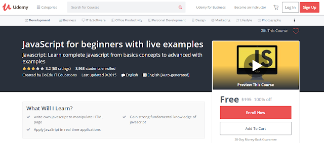 JavaScript for beginners with live examples