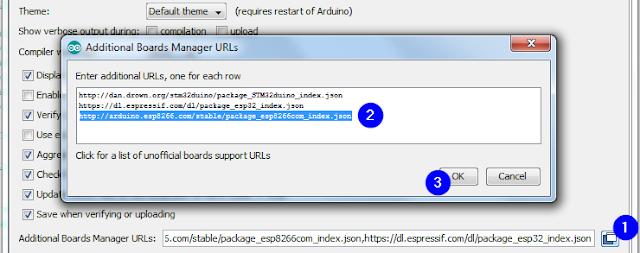 Adăugare URL pentru ESP8266 în Arduino IDE