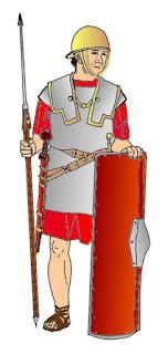 Legionär der Römischen Republik: galea, scutum, gladius, pilum, lorica hamata, balteus, umbo, caligae