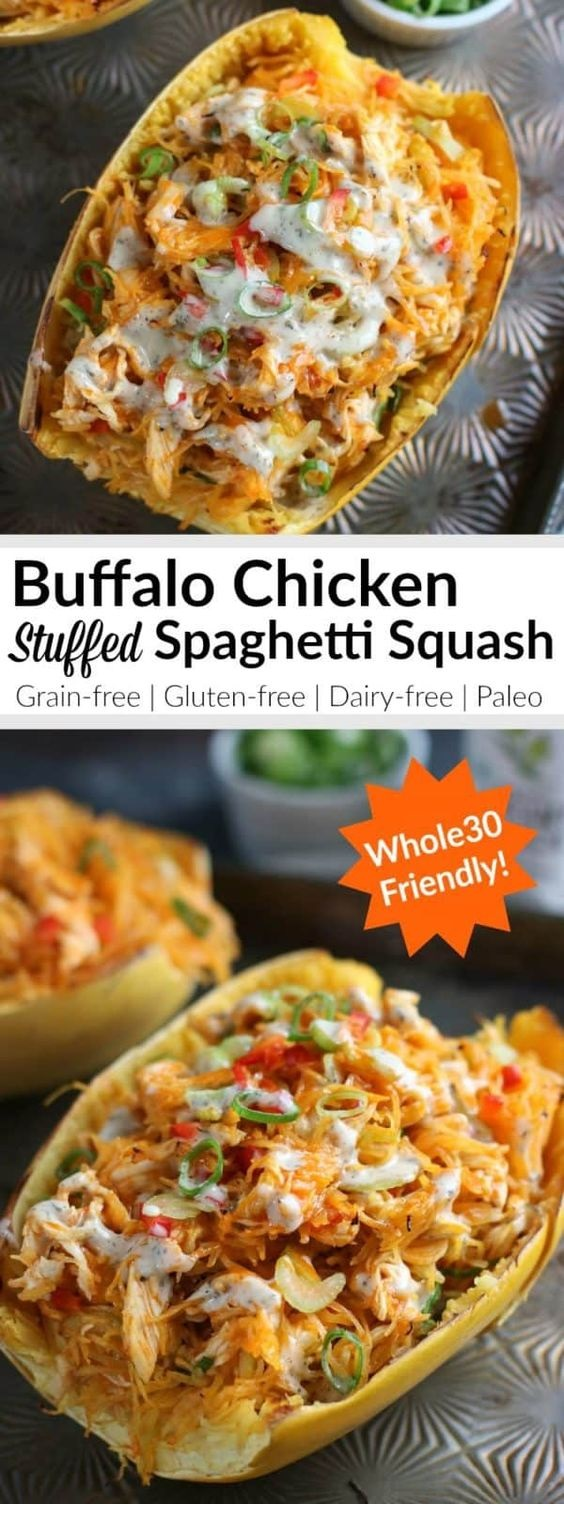 Buffalo Chicken Stuffed Spaghetti Squas