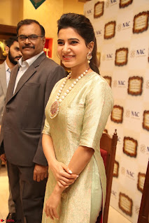 Samantha Ruth Prabhu in Cream Suit at Launch of NAC Jewelles Antique Exhibition 2.8.17 ~ Exclusive Celebrities Galleries