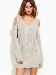 Ripped Cold Shoulder Mini Sweater Dress - Gray