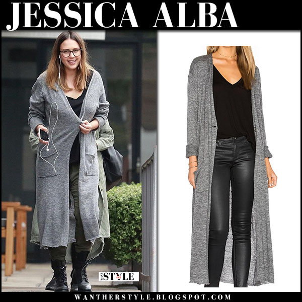 Jessica Alba in long grey cardigan street fashion march 13