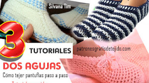 Aprende a tejer Pantuflas de Mujer / 3 Tutoriales Dos Agujas 👡🌻