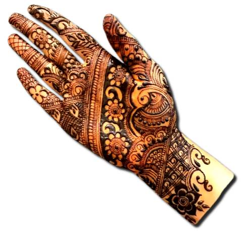 Front Hand Mehndi Design for Wedding
