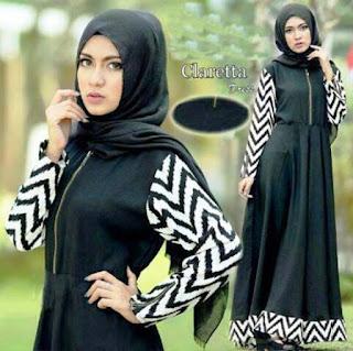 Model Baju Gamis Cantik Monochrome Style