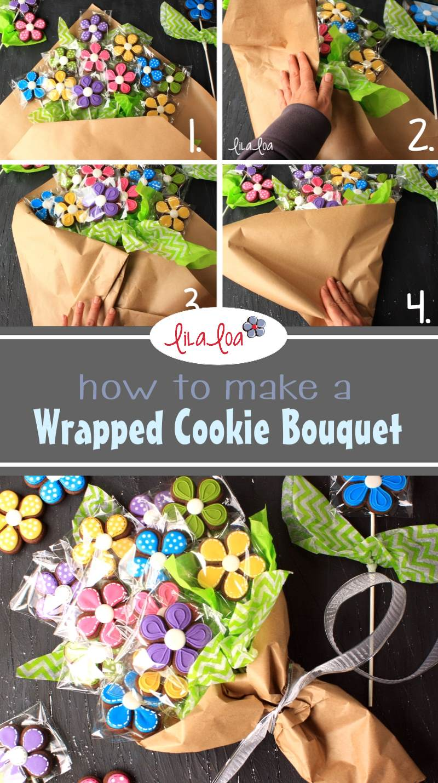 decorated flower chocolate sugar cookie bouquet tutorial
