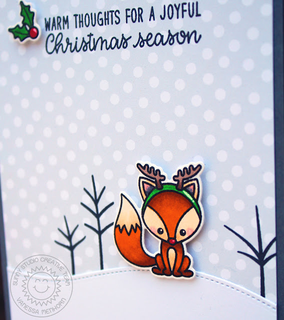 Sunny Studio Stamps: Foxy Christmas Woodland Borders Reindeer Fox Christmas Card by Vanessa Menhorn