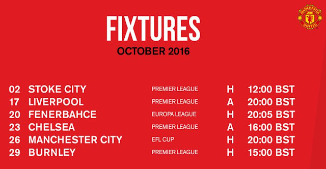 Jadwal Manchester United Oktober 2016