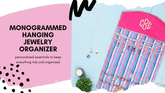monogrammed hanging jewelry organizer