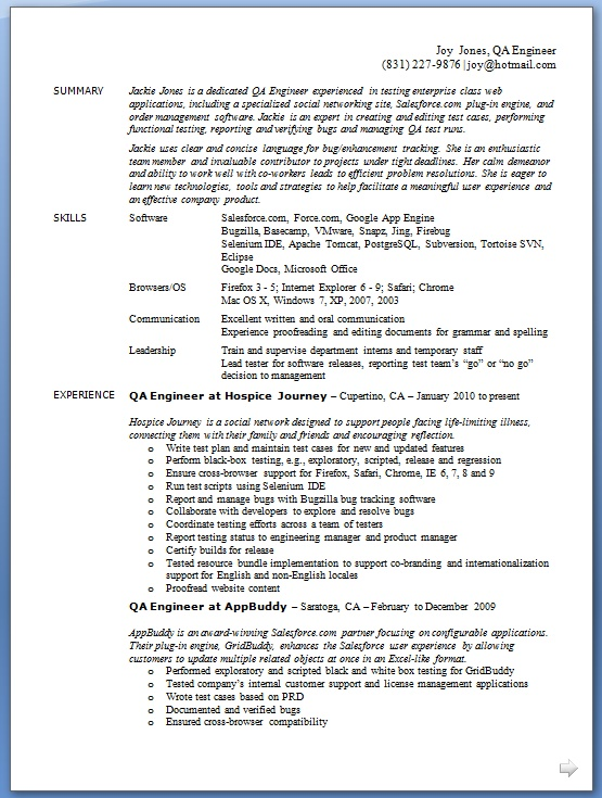 qa engineer resume layout format in word free download