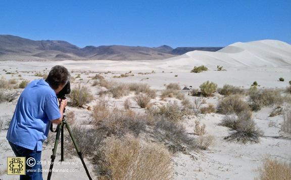 Bonnie Rannald photographing sand dunes.