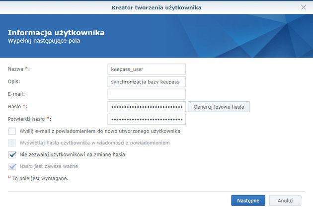 Formatka tworzenia nowego konta użytkownika w Synology