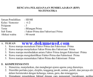 Download Contoh RPP Kelas 4 SD Matematika Revisi Kurikulum 2013