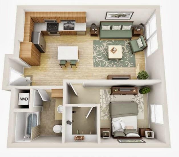 Departamentos peque os planos y dise o en 3d construye for Diseno de apartamento de soltero