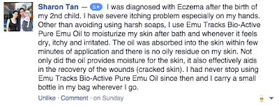 emu oil helps with cracked skin, dry itchy irritated skin and eczema.