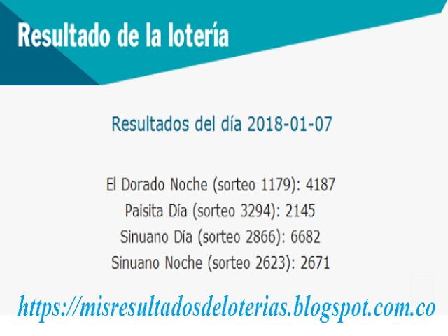 Resultados de las loterías de Colombia | Ganar chance | Resultado de la lotería | Loterias de hoy 07-01-2018