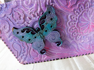 close up of painted mdf butterfly