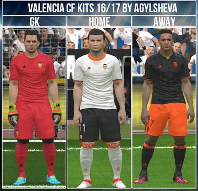PES 2016 Valencia CF 16 /17 Kits By Agylsheva
