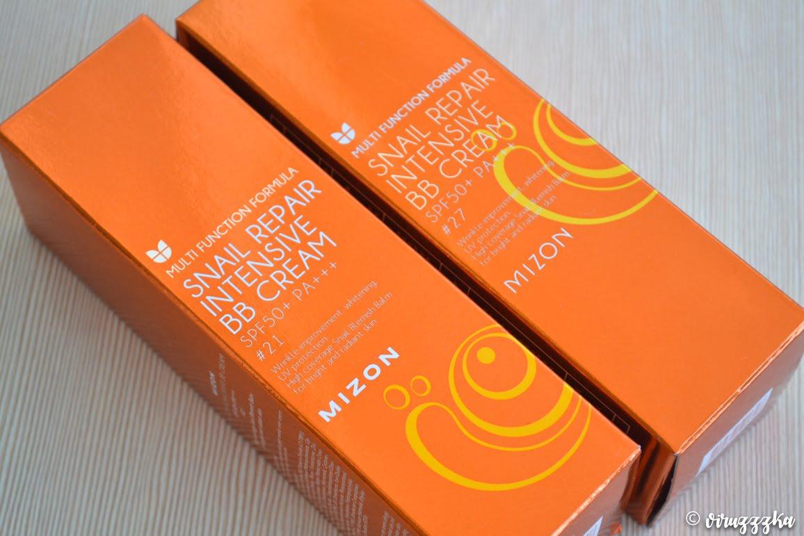 Mizon Multi Function Formula Snail Repair Intensive BB Cream SPF50+ РА+++ 21 Rose Beige 27 Medium Beige Review Swatches