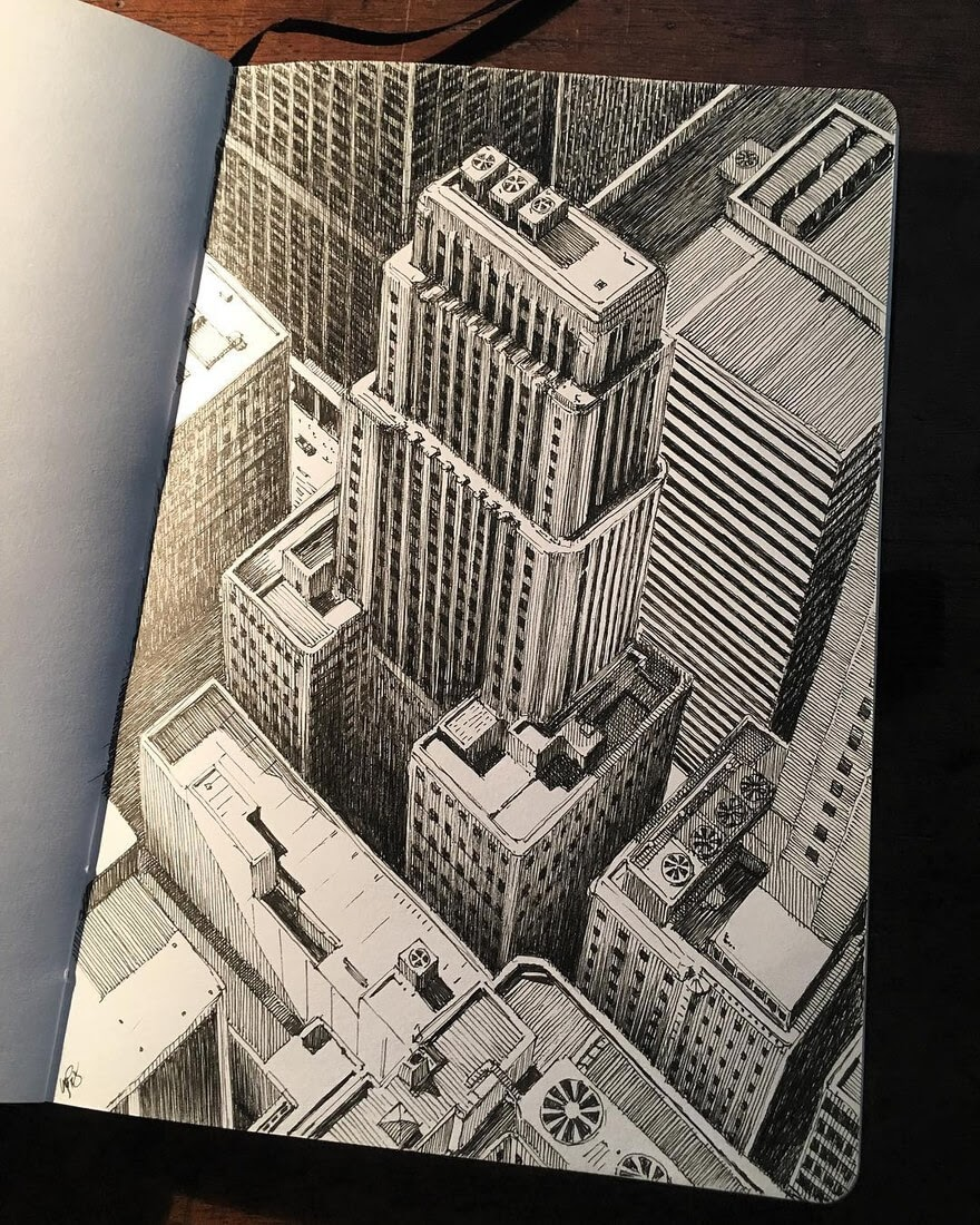 01-Flying-over-Chicago-Mark-Poulier-Drawing-Urban-Architecture-on-a-Sketchbook-www-designstack-co
