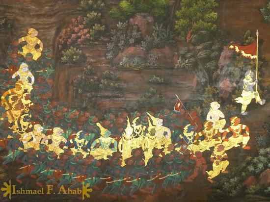 Ramakien in Bangkok Grand Palace: monkey army marching