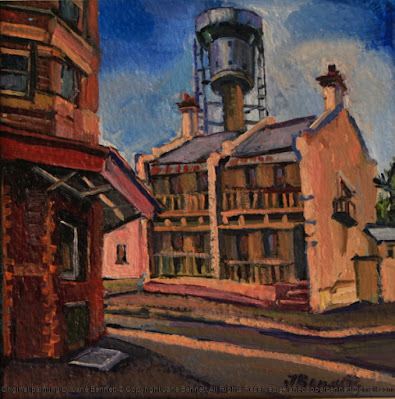 plein air oil painting of the Harbour Control Tower, Millers Point terraces, and Hotel Palisade by industrial heritage artist Jane Bennett