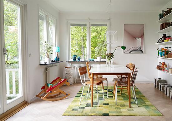 sala de jantar, decoração vintage, sala, mesa de jantar, living room, tapete