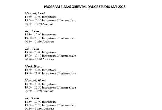 Program luna mai Elmas Oriental Dance Studio