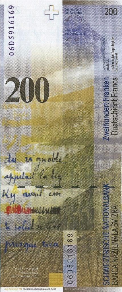 Switzerland Currency 200 Swiss Francs
