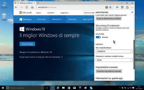Novità browser Edge Windows 10 impostazioni