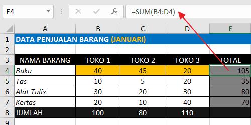 Rumus Excel Penjumlahan Antar Kolom Dengan Fungsi SUM