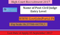 High Court Madhya Pradesh Recruitment 2017– 94 Civil Judge Entry Level