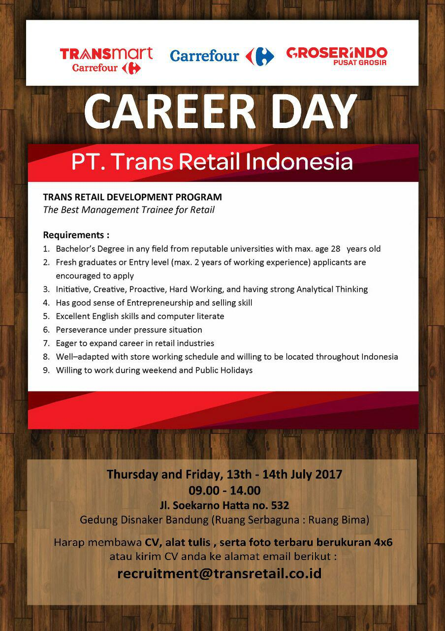 Lowongan Kerja PT. Trans Retail Indonesia Bandung Juli 2017