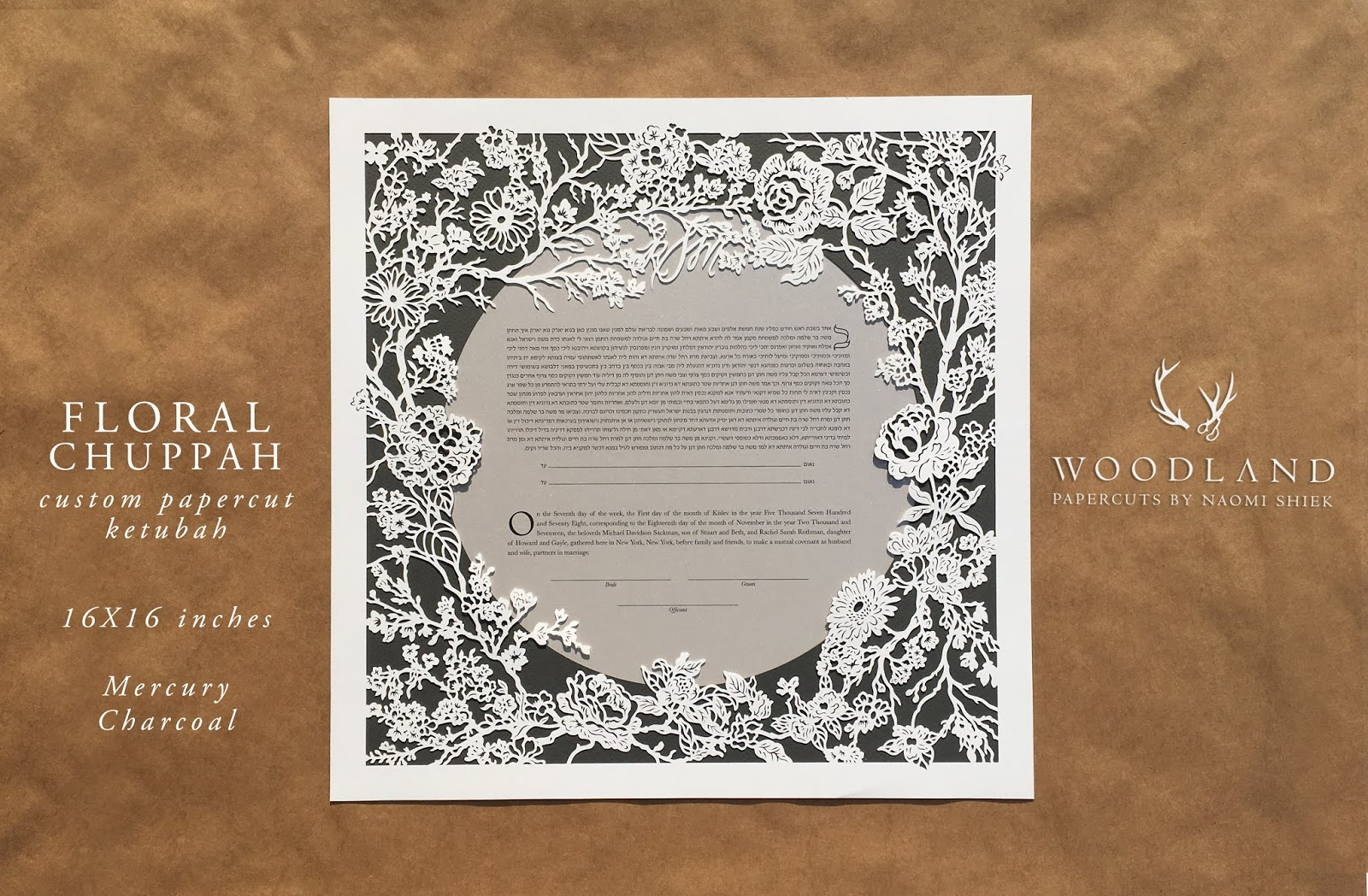 Handmade papercut ketubah by Naomi Shiek for weddings
