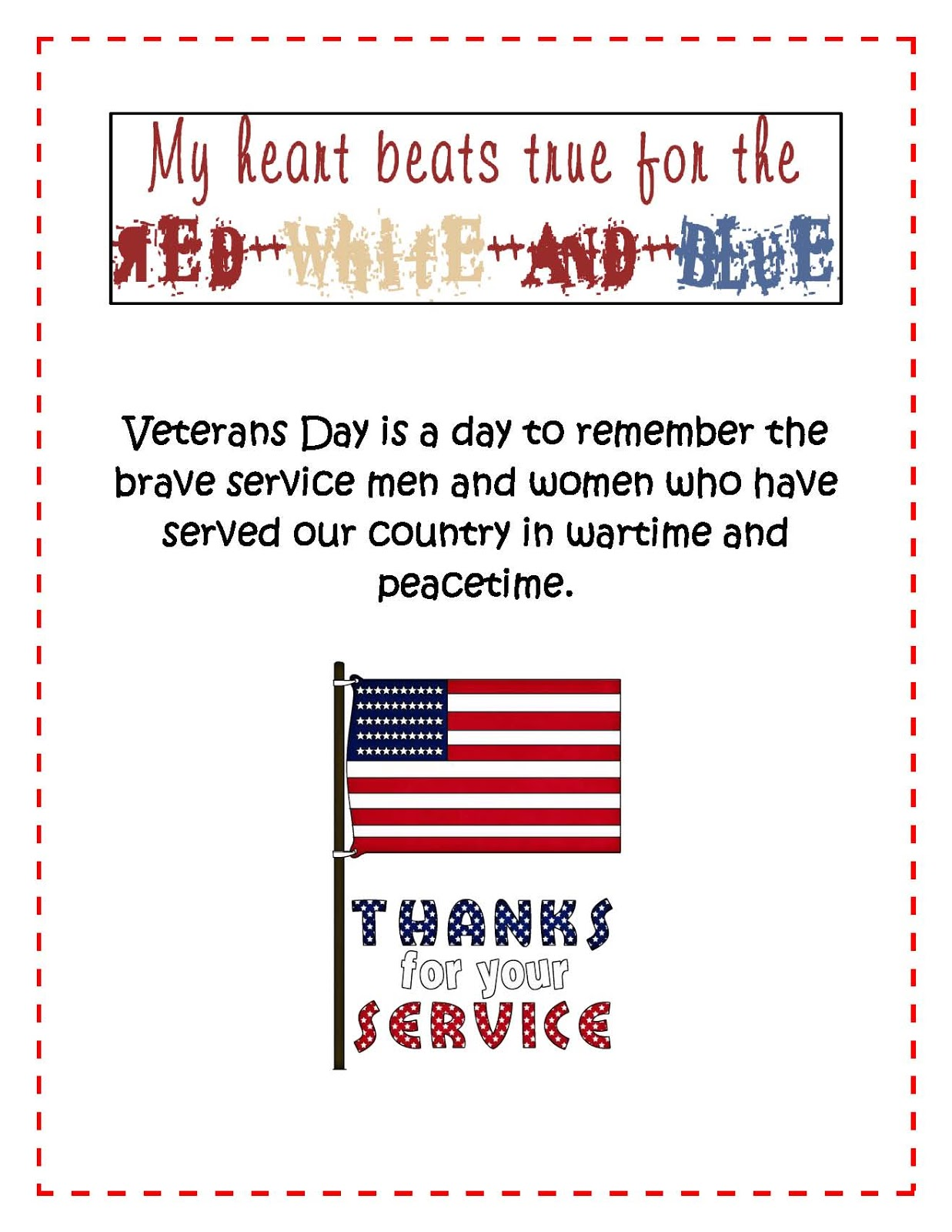 Little Miss Middle School Free Veterans Day Printables