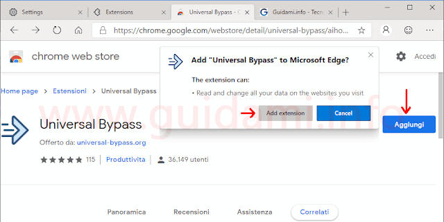 Microsoft Edge installazione di estensione Google Chrome dal Chrome Web Store